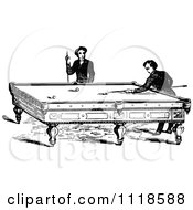 Clipart Of Retro Vintage Black And White Men Playing A Game Of Billiards Pool Royalty Free Vector Illustration
