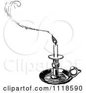 Clipart Of A Retro Vintage Black And White Tray Candle Holder And Smoke Royalty Free Vector Illustration