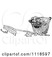 Clipart Of A Retro Vintage Black And White Rake And Basket Of Autumn Leaves Royalty Free Vector Illustration by Prawny Vintage