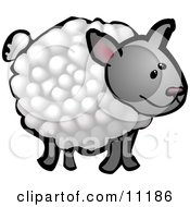 Cute Wooly Sheep On A Farm Clipart Illustration