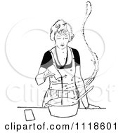 Clipart Of A Retro Vintage Black And White Woman Cooking Royalty Free Vector Illustration