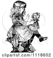 Clipart Of A Retro Vintage Black And White Girl Lecturing Her Doll Royalty Free Vector Illustration