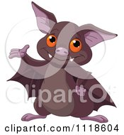 Cartoon Of A Cute Halloween Bat Presenting Royalty Free Vector Clipart by Pushkin