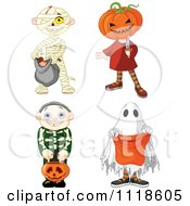 Cartoon Of Halloween Kids In Mummy Jack Skeleton And Ghost Costumes Royalty Free Vector Clipart by Pushkin
