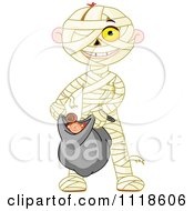 Cartoon Of A Trick Or Treating Halloween Kid In A Mummy Costume Royalty Free Vector Clipart
