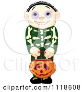 Cartoon Of A Trick Or Treating Halloween Kid In A Skeleton Costume Royalty Free Vector Clipart