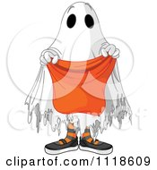 Cartoon Of A Trick Or Treating Halloween Kid In A Ghost Costume Royalty Free Vector Clipart by Pushkin