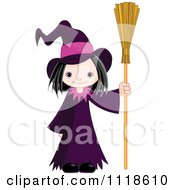 Cartoon Of A Trick Or Treating Halloween Kid In A Witch Costume Royalty Free Vector Clipart