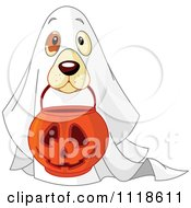 Cartoon Of A Trick Or Treating Halloween Dog In A Ghost Costume Royalty Free Vector Clipart