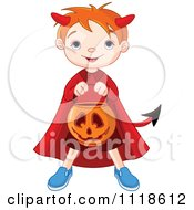 Cartoon Of A Trick Or Treating Halloween Kid In A Devil Costume Royalty Free Vector Clipart