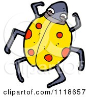 Cartoon Of A Yellow Ladybug Beetle 1 Royalty Free Vector Clipart by lineartestpilot
