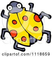 Cartoon Of A Yellow Ladybug Beetle 3 Royalty Free Vector Clipart by lineartestpilot
