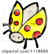 Cartoon Of A Yellow Ladybug Beetle 4 Royalty Free Vector Clipart by lineartestpilot