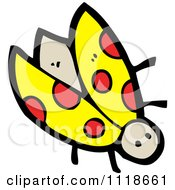 Cartoon Of A Yellow Ladybug Beetle 5 Royalty Free Vector Clipart by lineartestpilot