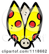 Cartoon Of A Yellow Ladybug Beetle 6 Royalty Free Vector Clipart by lineartestpilot