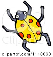 Cartoon Of A Yellow Ladybug Beetle 7 Royalty Free Vector Clipart by lineartestpilot