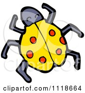 Cartoon Of A Yellow Ladybug Beetle 8 Royalty Free Vector Clipart by lineartestpilot