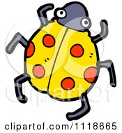 Cartoon Of A Yellow Ladybug Beetle 9 Royalty Free Vector Clipart by lineartestpilot