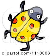 Cartoon Of A Yellow Ladybug Beetle 10 Royalty Free Vector Clipart by lineartestpilot