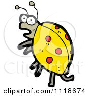 Cartoon Of A Yellow Ladybug Beetle 12 Royalty Free Vector Clipart by lineartestpilot