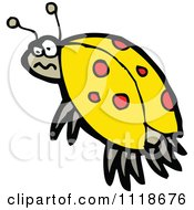 Cartoon Of A Yellow Ladybug Beetle 14 Royalty Free Vector Clipart by lineartestpilot