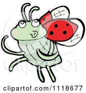Cartoon Of A Red Ladybug Beetle 15 Royalty Free Vector Clipart by lineartestpilot