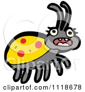 Cartoon Of A Yellow Ladybug Beetle 15 Royalty Free Vector Clipart by lineartestpilot
