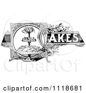 Clipart Of A Retro Vintage Black And White Cakes Recipe Label Royalty Free Vector Illustration