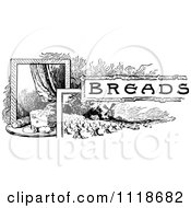 Clipart Of A Retro Vintage Black And White Breads Recipe Label Royalty Free Vector Illustration