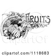 Clipart Of A Retro Vintage Black And White Fruits Label Royalty Free Vector Illustration