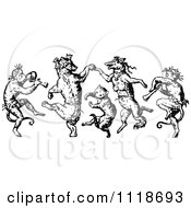 Clipart Of Retro Vintage Black And White Monkeys Cat And Foxes Dancing Royalty Free Vector Illustration by Prawny Vintage