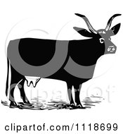 Clipart Of A Retro Vintage Black And White Cow 3 Royalty Free Vector Illustration