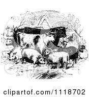 Clipart Of Retro Vintage Black And White Livestock Farm Animals Royalty Free Vector Illustration