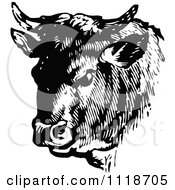 Clipart Of A Retro Vintage Black And White Cow Portrait 2 Royalty Free Vector Illustration by Prawny Vintage