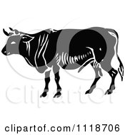 Clipart Of A Retro Vintage Black And White Bull 2 Royalty Free Vector Illustration by Prawny Vintage