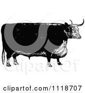 Clipart Of A Retro Vintage Black And White Bull 3 Royalty Free Vector Illustration