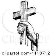 Clipart Of A Retro Vintage Black And White Hand Holding A Cross Royalty Free Vector Illustration by Prawny Vintage #COLLC1118712-0178