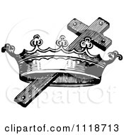 Clipart Of A Retro Vintage Black And White Cross And Crown Royalty Free Vector Illustration