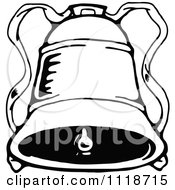 Clipart Of A Retro Vintage Black And White Christmas Bell 1 Royalty Free Vector Illustration by Prawny Vintage