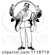 Clipart Of A Retro Vintage Black And White Christmas Man With Gifts Royalty Free Vector Illustration