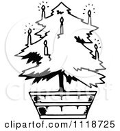 Clipart Of A Retro Vintage Black And White Potted Living Christmas Tree 2 Royalty Free Vector Illustration