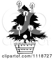 Clipart Of A Retro Vintage Black And White Potted Living Christmas Tree 1 Royalty Free Vector Illustration
