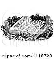 Clipart Of A Retro Vintage Black And White Open Holy Bible Royalty Free Vector Illustration