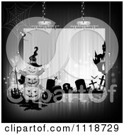 Clipart Of A Suspended Halloween Sign With Stacked Jackolanterns A Cemetery And Haunted House Royalty Free Vector Illustration