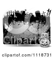 Clipart Of A Grungy Purple Halloween Frame With Gravestones And Jackolanterns Royalty Free Vector Illustration