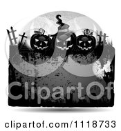 Clipart Of A Grungy Orange Halloween Frame With Gravestones And Jackolanterns 2 Royalty Free Vector Illustration
