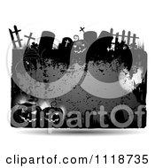Grungy Orange Halloween Frame With Gravestones And Jackolanterns 1