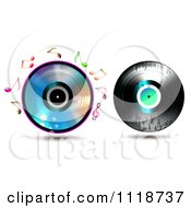 Clipart Of A Shiny Cd With Music Notes And Grungy Vinyl Record Royalty Free Vector Illustration
