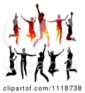 Clipart Of Silhouetted Dancers In Black And In Gradient Lights Royalty Free Vector Illustration