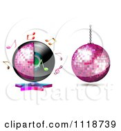Clipart Of Music Notes And Disco Balls With A Vinyl Record Royalty Free Vector Illustration